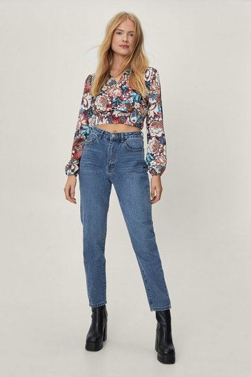 Womens Mid blue Debbie High-Waisted Mom Jeans
