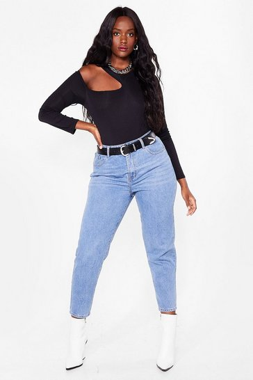 Light blue Debbie High-Waisted Plus Mom Jeans
