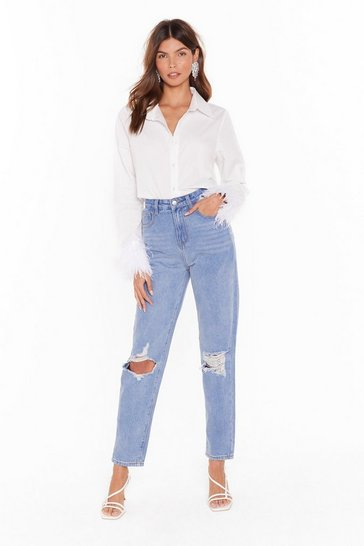 Light blue Debbie Distressed High-Waisted Mom Jeans