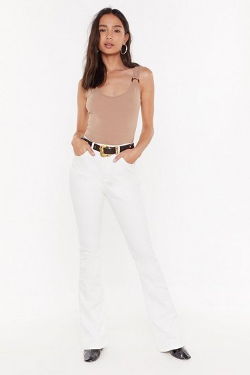 Womens White Donna High-Waisted Flare Jeans