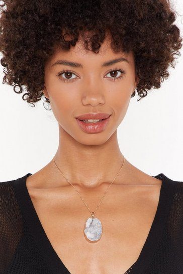 Womens White Real Semi Precious Stone Chain Necklace