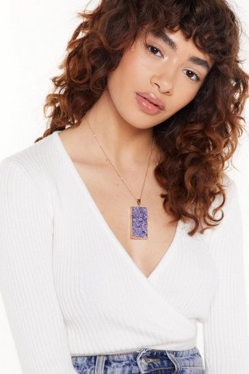 Womens Purple Nothing's Set in Stone Pendant Necklace
