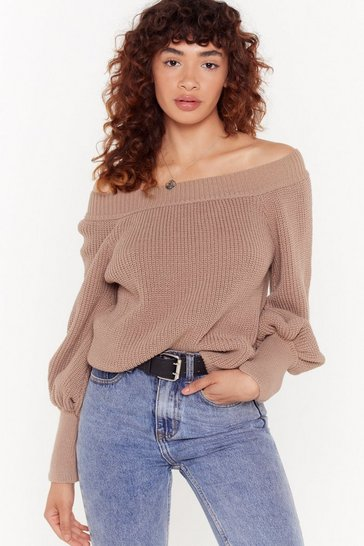 Womens Mink Keep Knit Warm Off-the-Shoulder Sweater