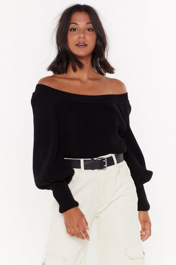 Black Off-The-Shoulder Sweater with Balloon Sleeves