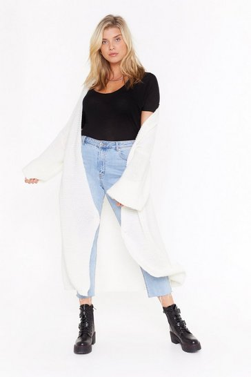 Cream Admit Knit Plus Chunky Longline Cardigan