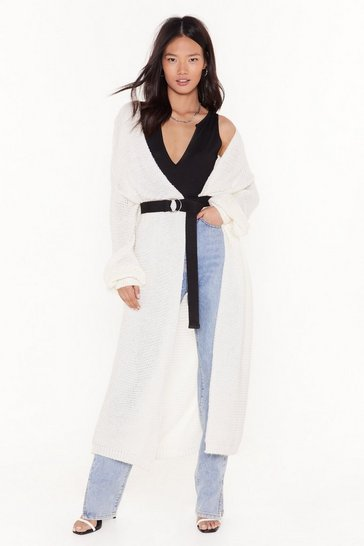 Cream Admit Knit Chunky Longline Cardigan