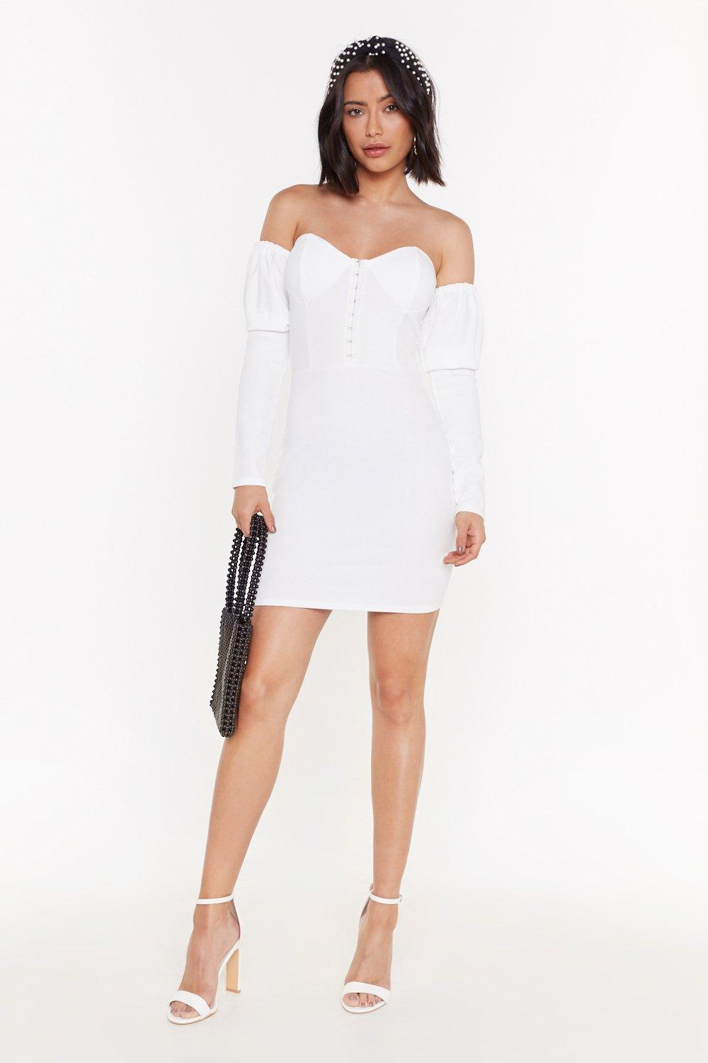 Better Off The Shoulder Hook And Eye Mini Dress by Nasty Gal