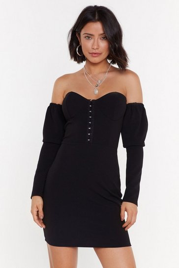 Womens Black Better Off-the-Shoulder Hook and Eye Mini Dress