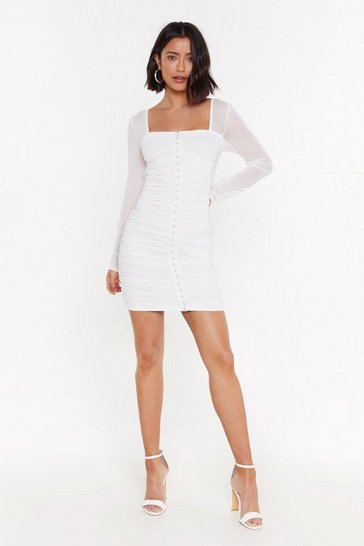 Womens Ivory Mesh Hook and Eye Dress