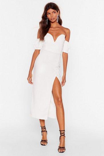 White Everybody Wants To Call You Sweetheart Midi Dress