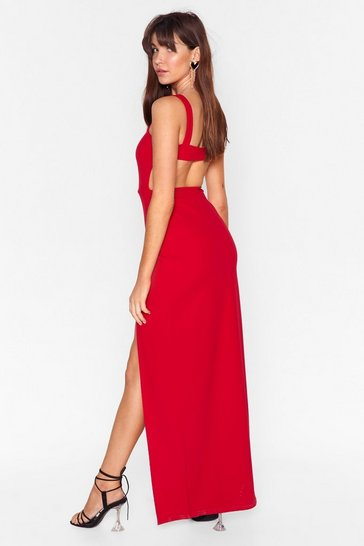 Womens Red Square Neck Open Back Maxi Dress