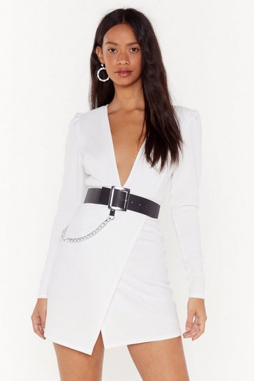 Womens White V Yourself Plunging Mini Dress