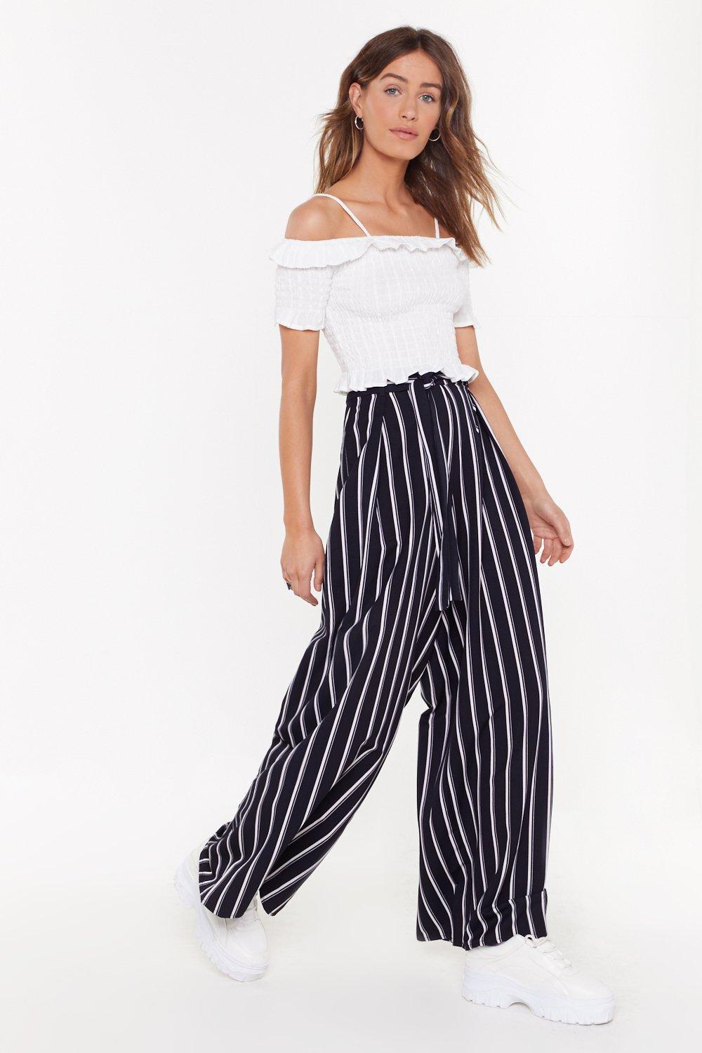 Once Upon A Line Striped Wide Leg Trousers by Nasty Gal