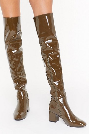 Womens Olive Think Things Over Patent Faux Leather Thigh High Boots