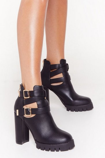Womens Black Cut-Out Me Some Slack Faux Leather Buckle Boots