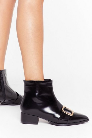 Womens Black Better Buck Next Time Patent Faux Leather Boots