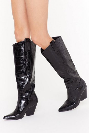 Black Faux Leather Calf Design Croc Boots with Block Heel