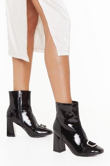 Womens Black When the Sun Don't Shine Buckle Block Heel Boots