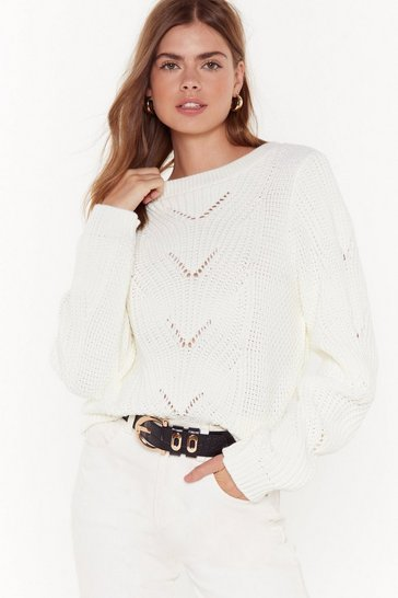 Womens White Knit 'Em Up Cable Knit Sweater
