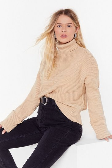 Womens Oatmeal Can't Knit Your Love Plus Turtleneck Jumper