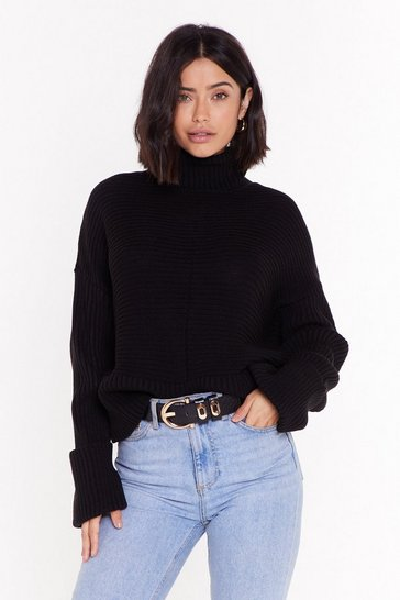 Black Turtleneck Chunky Cable Knit Jumper
