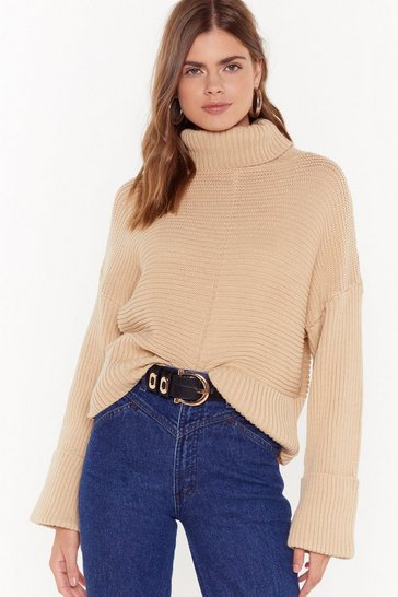 Womens Oatmeal That's How We Roll Cable Knit Sweater