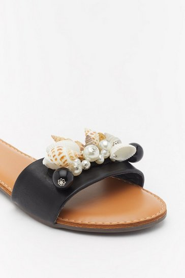 Womens Black Shell Embellished Flat Mules