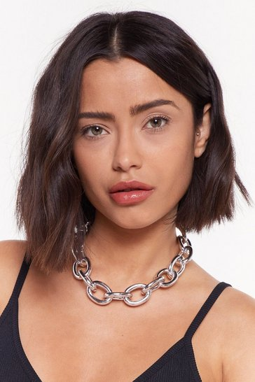 Womens Silver Party Was Off the Chain Chunky Choker