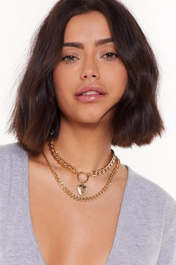 Womens Gold Chain in My Heart Layered Necklace