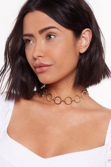 Womens Gold Ring Ring Circle Choker