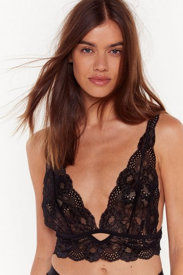 Womens Black My Lace or Yours Scalloped Bralette