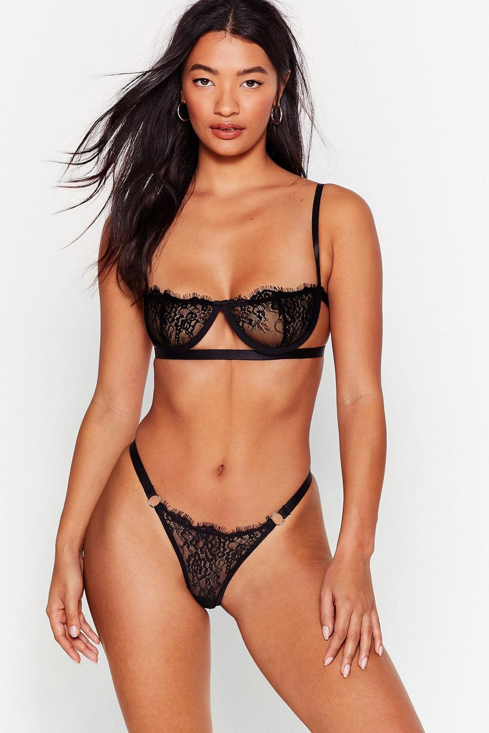 Just In Lace Bralette And Thong Set by Nasty Gal