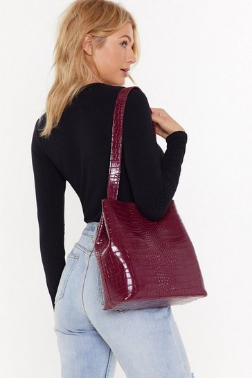Womens Burgundy WANT Wait for the Reveal Croc Clutch and Tote Bag