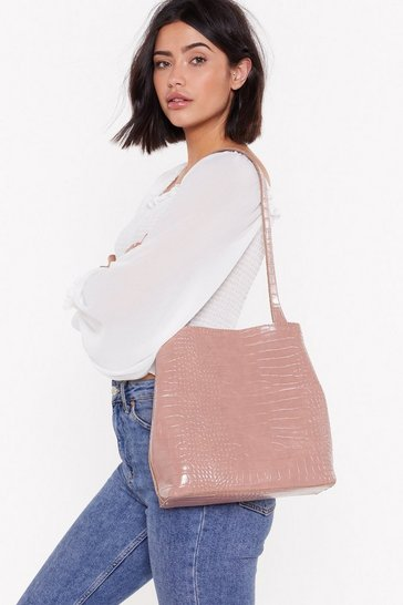 Womens Pink WANT Wait for the Reveal Croc Clutch and Tote Bag