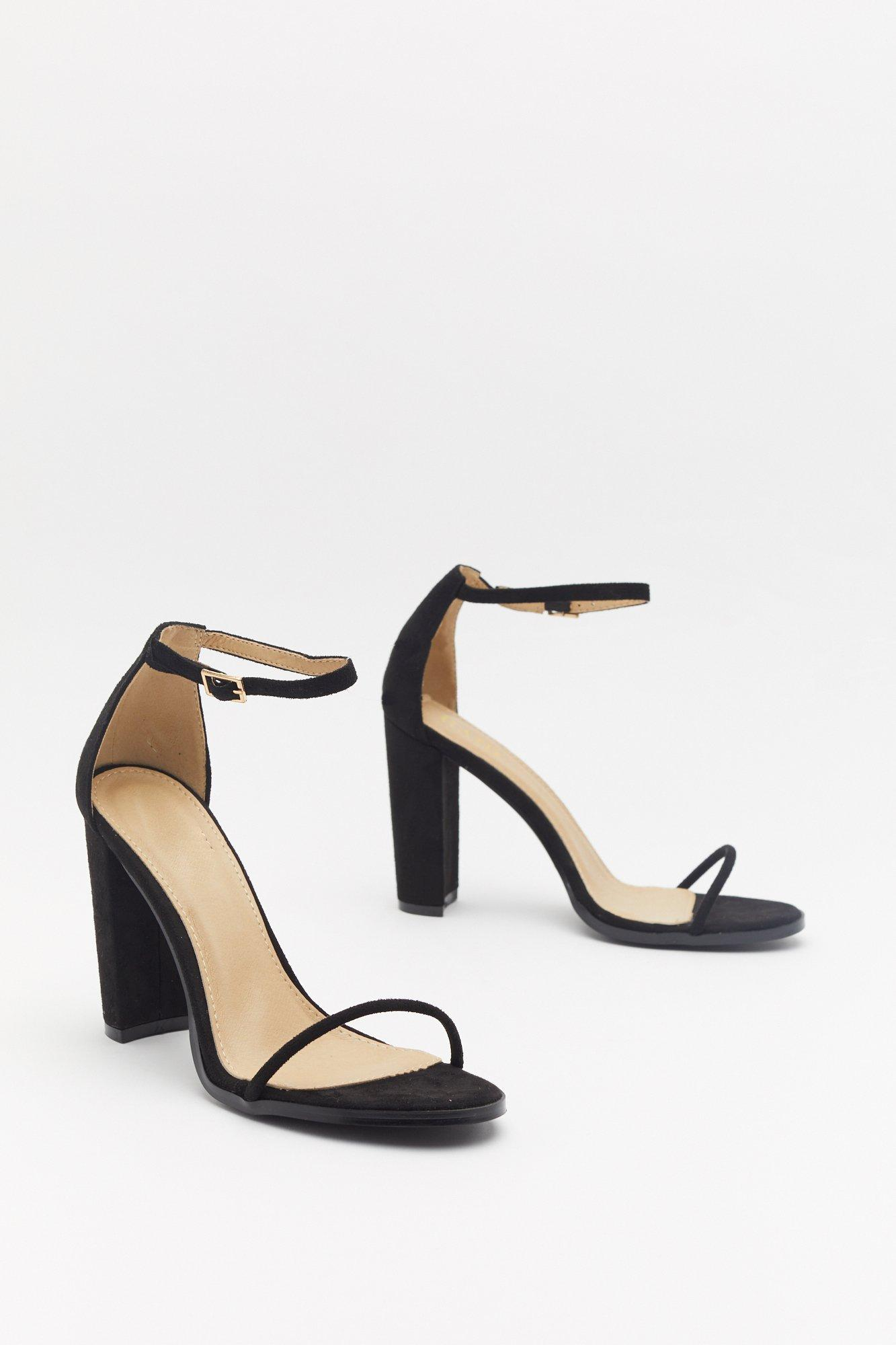 Strappy That You're Here Faux Suede Block Heels | Nasty Gal