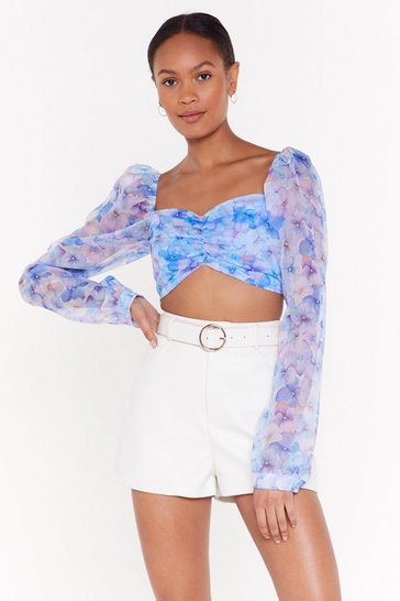 Womens Blue Stay Hydrangea Kids Square Neck Blouse