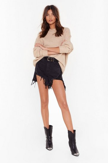 Womens Washed black Hang Loose Distressed Denim Shorts
