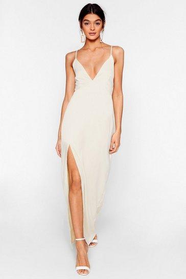 Ivory Look At You Satin Maxi Dress