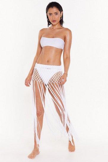 White Sun of a Beach Crochet Cover-Up Skirt
