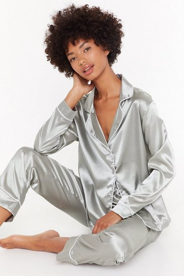 Womens Sage Eat Sleep Repeat Satin Pyjama Set