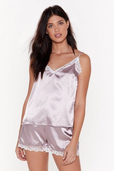 Womens Mauve Sweet Dreams Satin Lace Pyjama Set