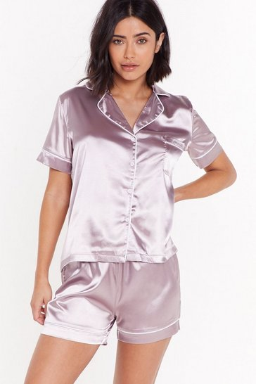 Womens Mauve Beauty Sleep Satin Short Pajama Set