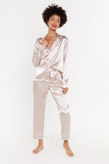Womens Blush Namast'ay in Bed Satin Button-Down Pajama Set