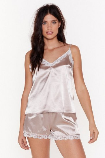 Womens Blush Sweet Dreams Satin Lace Pajama Set