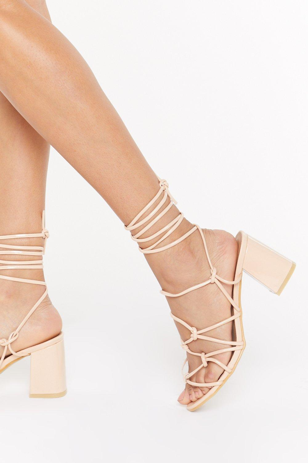 Now's Knot A Good Time Patent Sandals by Nasty Gal