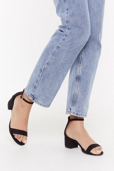 Womens Black On the Low Down Heeled Sandal
