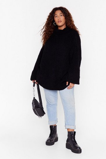 Womens Black Roll the Dice Plus Turtleneck Knit Jumper