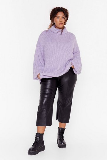 Womens Lilac Roll the Dice Plus Turtleneck Knit Jumper