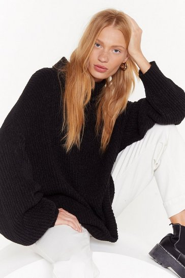 Pull oversize en grosse maille à col roulé Over the top, Black