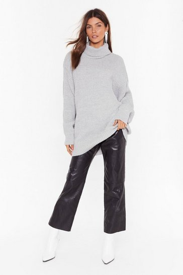 Grey Roll On the Weekend Turtleneck Sweater